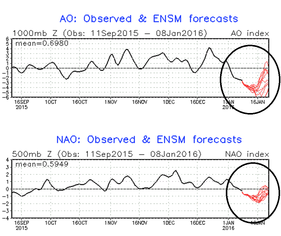 AO and NAO indices past (black) and forecasts (red); courtesy NOAA