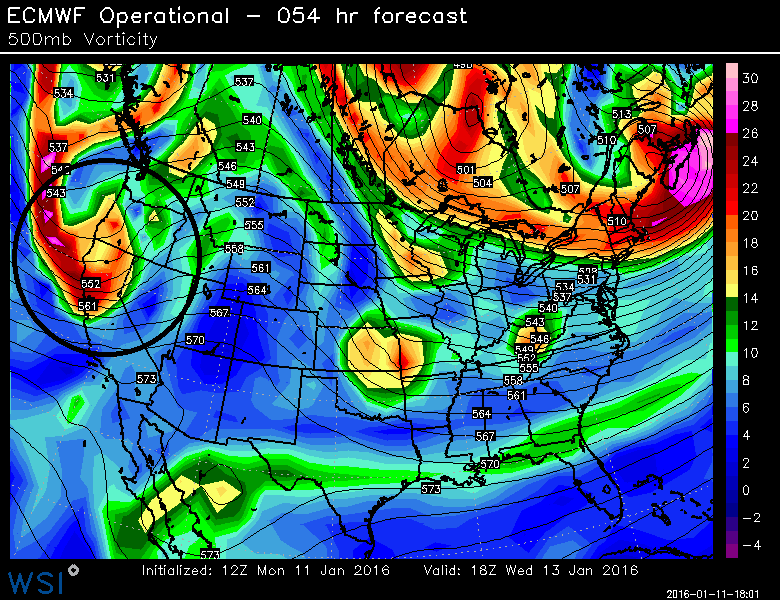 Euro forecast map for Wednesday PM with potential weekend system upper-level wave circled; map courtesy WSI