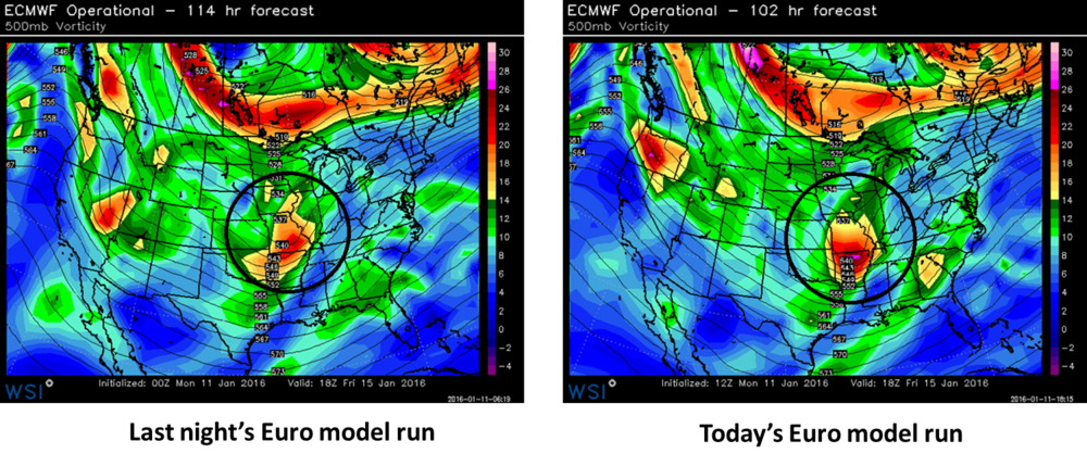 Circled areas show upper-level energy associated with potential weekend system.  Left panel is from last night's 00Z Euro model run; right panel is from this morning's 12Z model run with the same verification time of 1pm on Friday; maps courtesy WSI