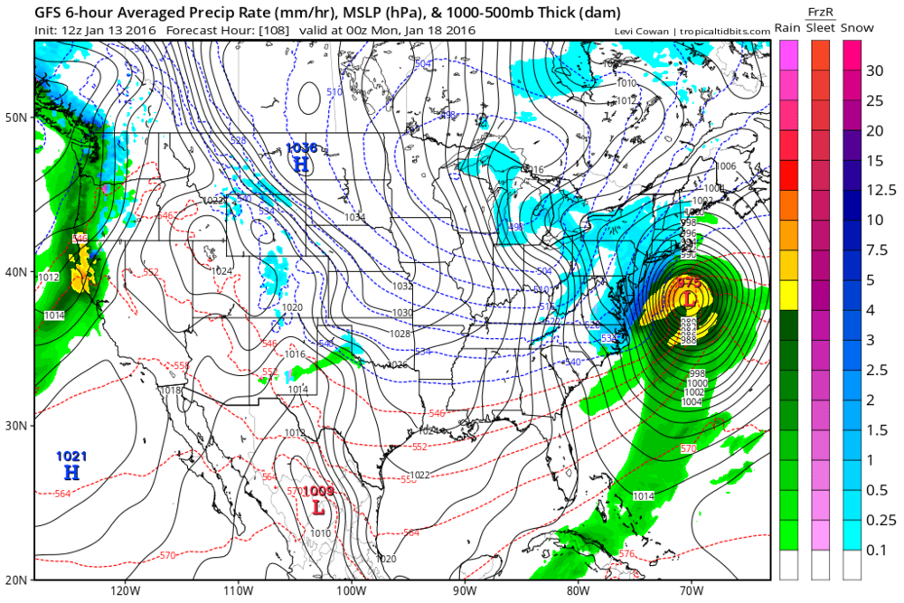 12Z GFS forecast map for Sunday night (blue=snow); map courtesy tropicaltidbits.com