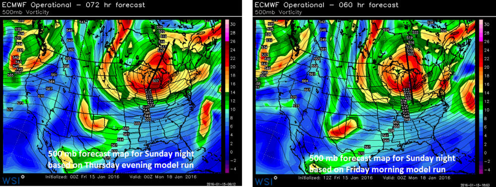 Comparison map between last night's Euro forecast map at 500 mb for Sunday night (left) and this morning's model run (right); maps courtesy WSI, Inc.