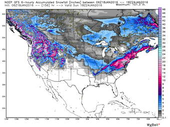 00Z GFS total snowfall forecast by later this weekend; map courtesy Weather Bell Analytics