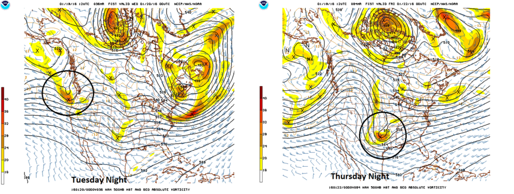 Movement of the main upper-level feature crucial to the development of the storm (based on 12Z NAM forecasts)