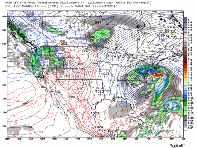 12Z GFS surface forecast map for Saturday morning; courtesy Weather Bell Analytics