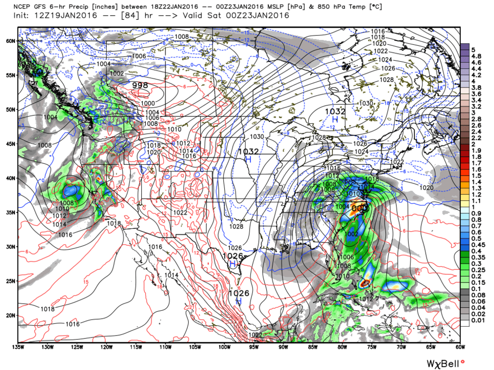 12Z GFS surface forecast map for Friday night; map courtesy Weather Bell Analytics