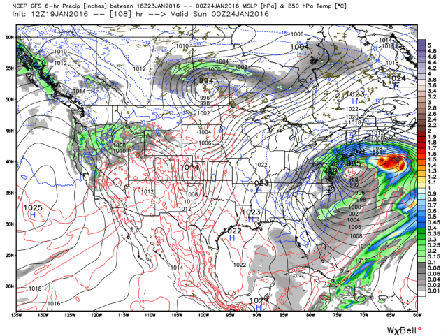 12Z GFS surface forecast map for Saturday night; map courtesy Weather Bell Analytics