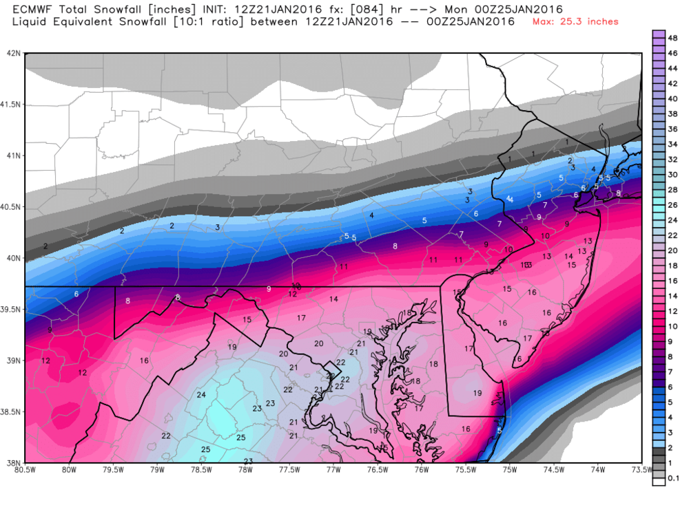 12Z Euro total snowfall map for upcoming storm; courtesy Weather Bell Analytics