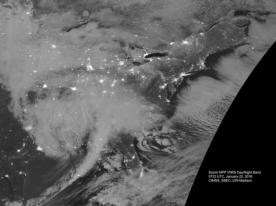 "Suomi NPP VIIRS view rfom space of the ""Blizzard of 2016"" from 0723 UTC (1:23 am CST). Note the lightning streaks in the cold front that extends south over the Gulf of Mexico. Note also clouds streaming out over the Atlantic Ocean due to very cold air in place where the storm is headed and expected to produce heavy snow, ice and high winds.  Lights can be seen in many cities across the eastern U.S.; image courtesy CIMSS-University of Wisconsin"