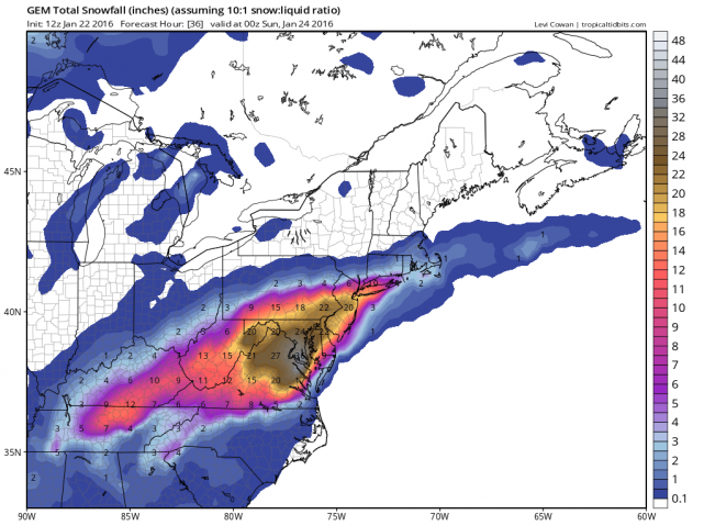 12Z Canadian total snowfall map; courtesy tropicaltidbits.com