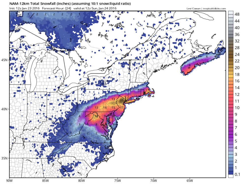 Saturday 12Z NAM total snowfall forecast map for the time period between Saturday morning and Sunday morning; courtesy tropical tidbits.com