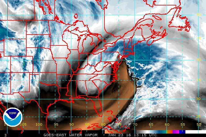 GOES East water vapor image of powerful east coast storm; courtesy NOAA