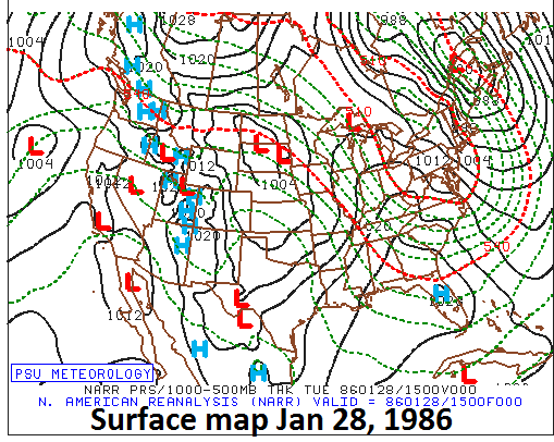 Surface weather map on January 28, 1986; courtesy Penn State ewall