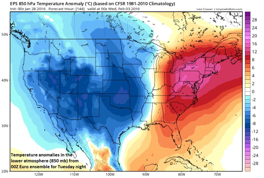 00Z Euro ensemble 850 mb temperature anomalies for Tuesday night; courtesy tropicaltidbits.com