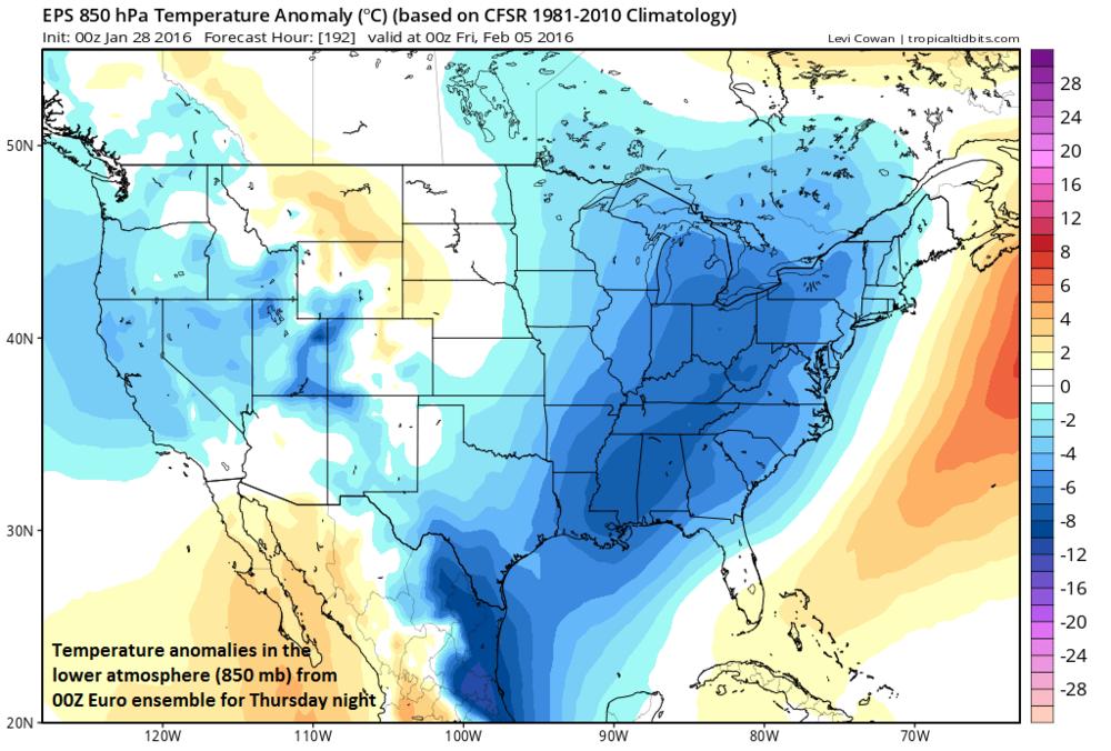 00Z Euro ensemble 850 mb temperature anomalies for Thursday night; courtesy tropicaltidbits.com