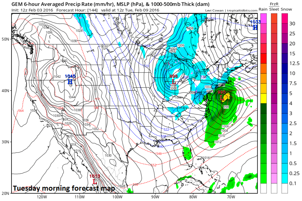 12Z Canadian model forecast map for Tuesday morning; courtesy tropicaltidbits.com