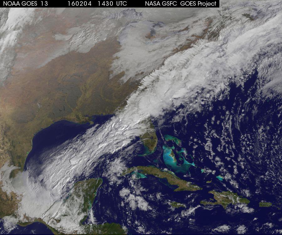 GOES 13 morning visible satellite image; courtesy NASA