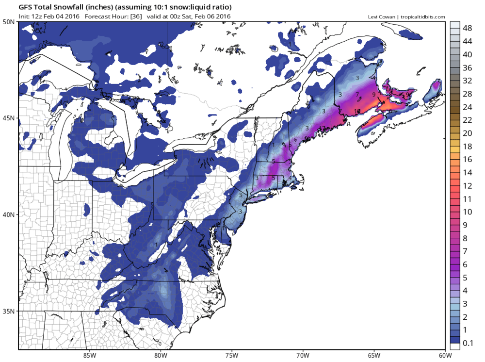 12Z GFS snowfall map for upcoming system (late tonight/early Friday); courtesy tropicaltidbits.com, NOAA