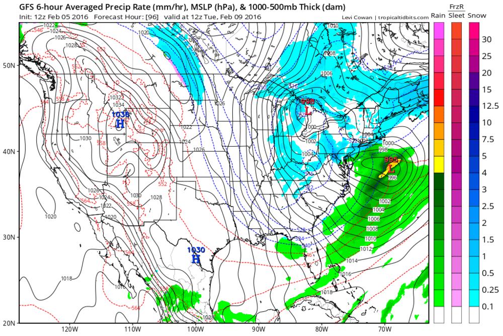 12Z GFS forecast map for Tuesday morning; courtesy tropicaltidbits.com, NOAA