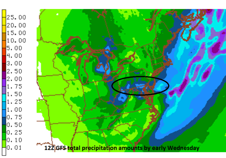 12Z GFS total precipitation amounts between now and early Wednesday.  Circled region is roughly the potential zone for heaviest snowfall; map courtesy NOAA