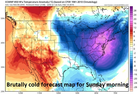 12Z Euro model forecast map for lower atmosphere temperature anomalies on Sunday morning; courtesy tropicaltidbits.com