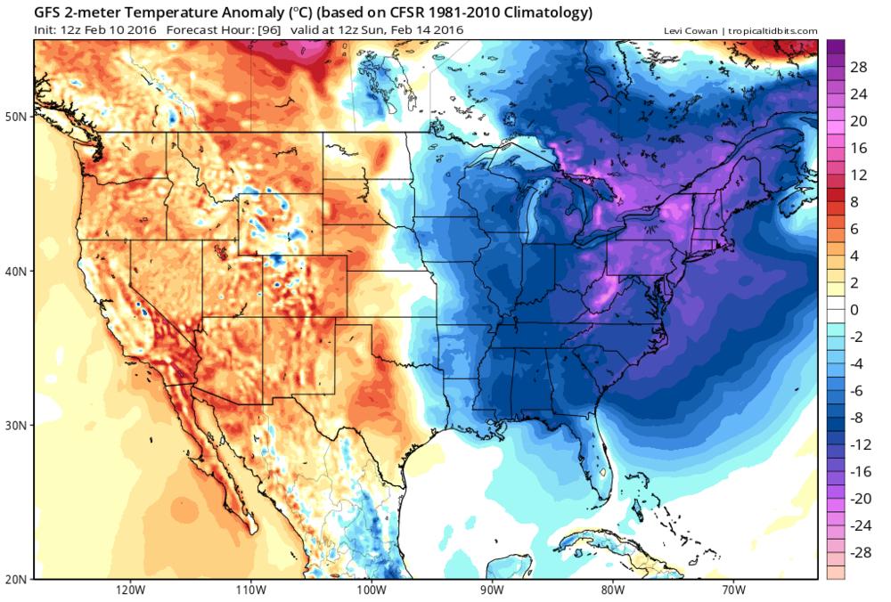 12Z GFS forecast map of temperature anomalies on Sunday morning; courtesy tropicaltidbits.com, NOAA
