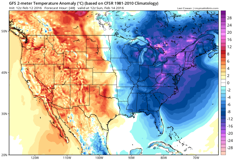 12Z GFS forecast map of temperature anomalies on Sunday morning; map courtesy tropicaltidbits.com, NOAA