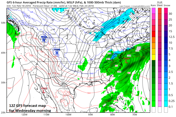 12Z GFS forecast map for Wednesday morning (blue=snow, green=rain); map courtesy tropicaltidbits.com, NOAA