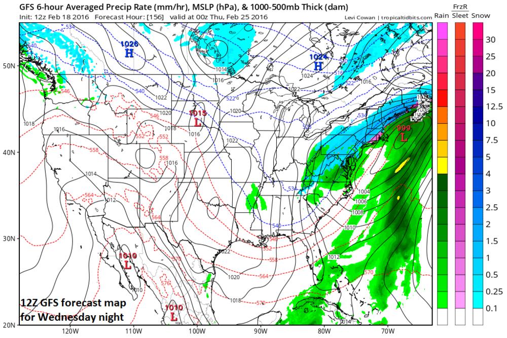 12Z GFS forecast map for Wednesday night; map courtesy tropicaltidbits.com, NOAA