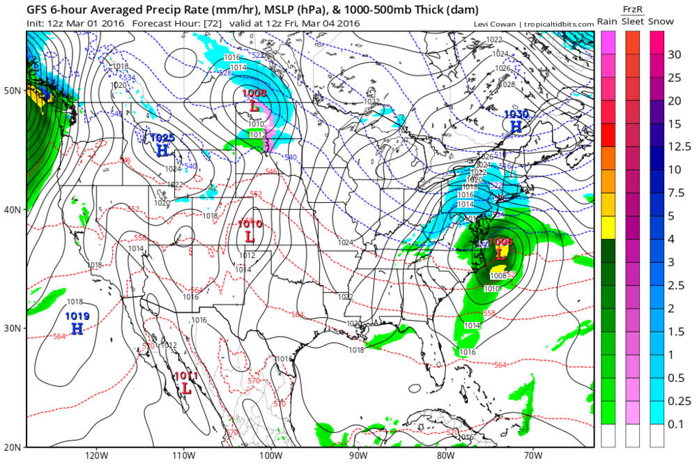 12Z GFS forecast map for Friday morning (blue=snow, green=rain); map courtesy tropicaltidbits.com, NOAA