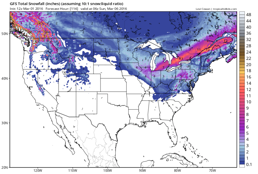 12Z GFS snowfall forecast map for late week storm; courtesy tropicaltidbits.com, NOAA