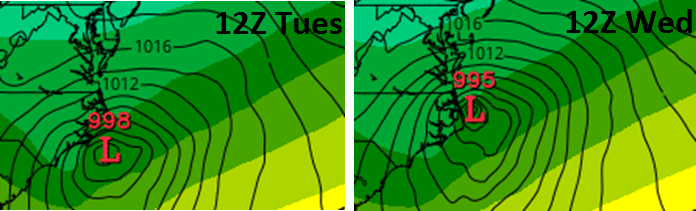 24 hour change in the European model forecast of the coastal low for Friday morning (left from Tuesday morning's model run, right from Wednesday morning's model run); maps courtesy tropicaltidbits.com