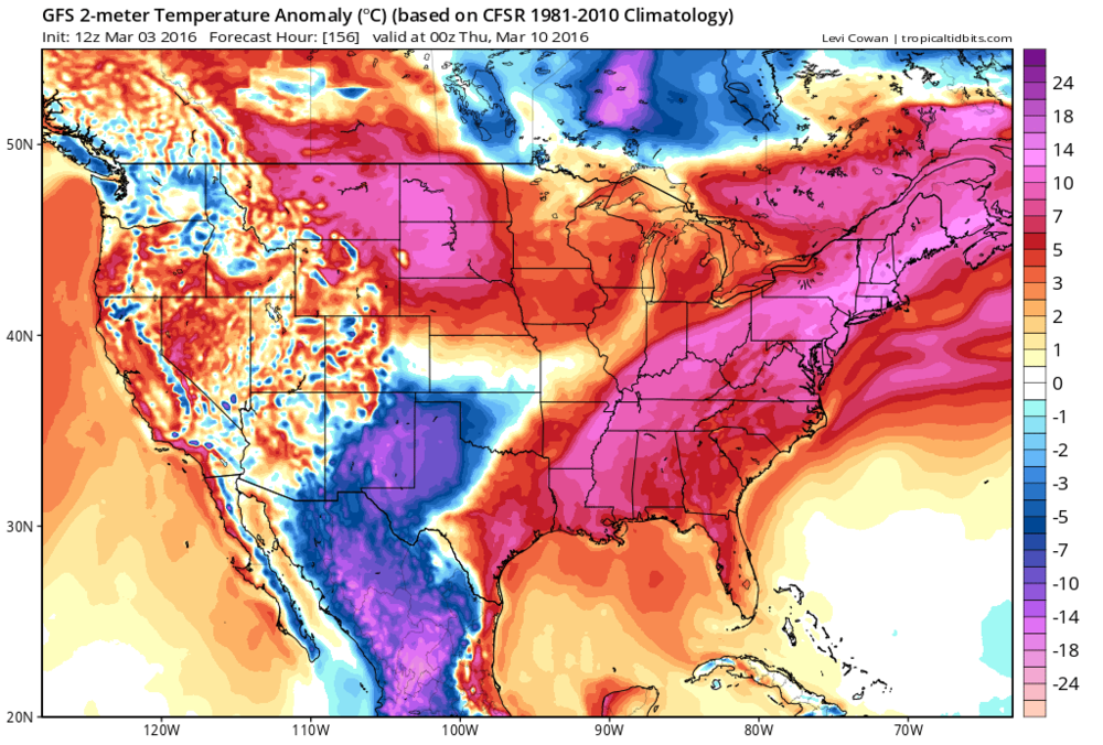 12Z GFS forecast map of 2-meter temperature anomalies Wednesday evening; map courtesy tropicaltidbits.com, NOAA