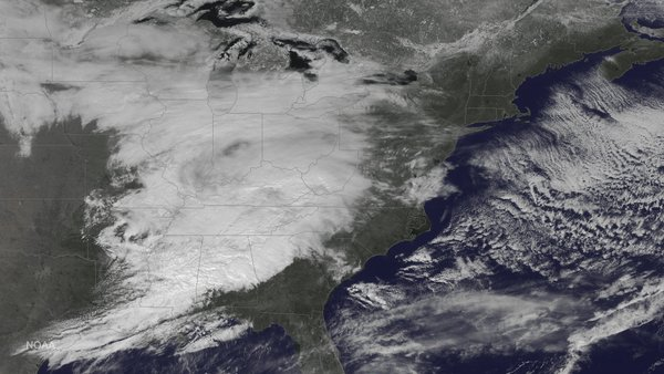 Latest visible satellite image of approaching storm system; courtesy NASA, NOAA, Washington Post CWG