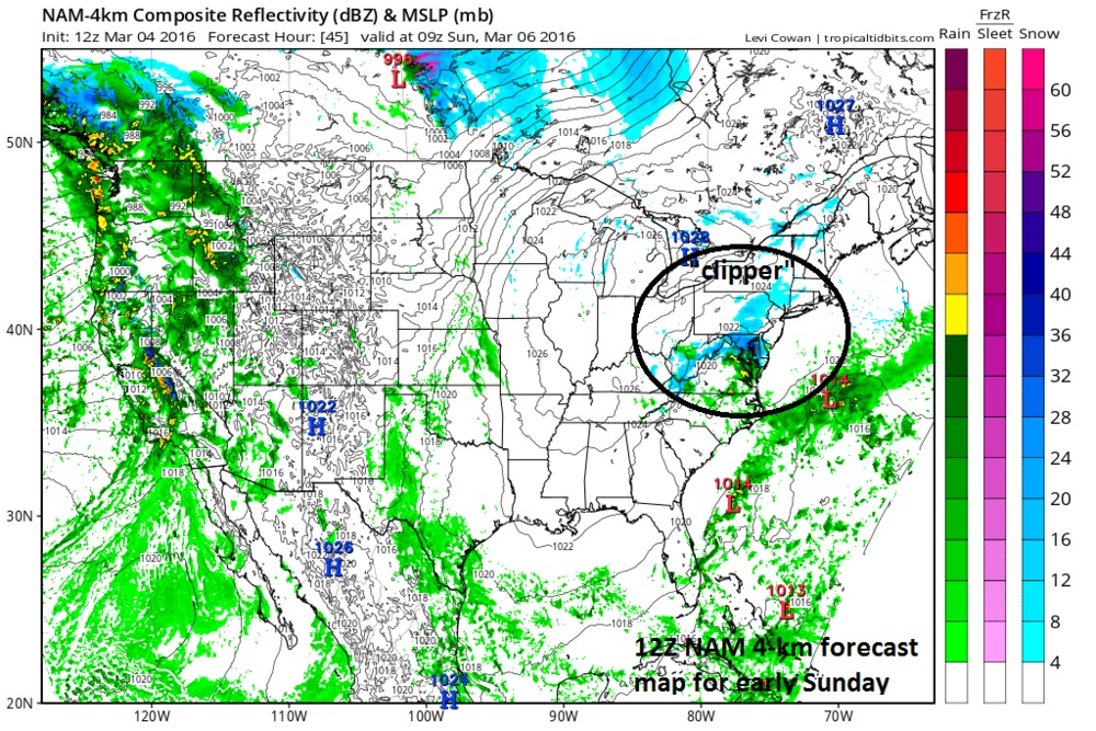 High-resolution NAM model forecast map for early Sunday (blue=snow, green=rain); map courtesy tropicaltidbits.com, NOAA