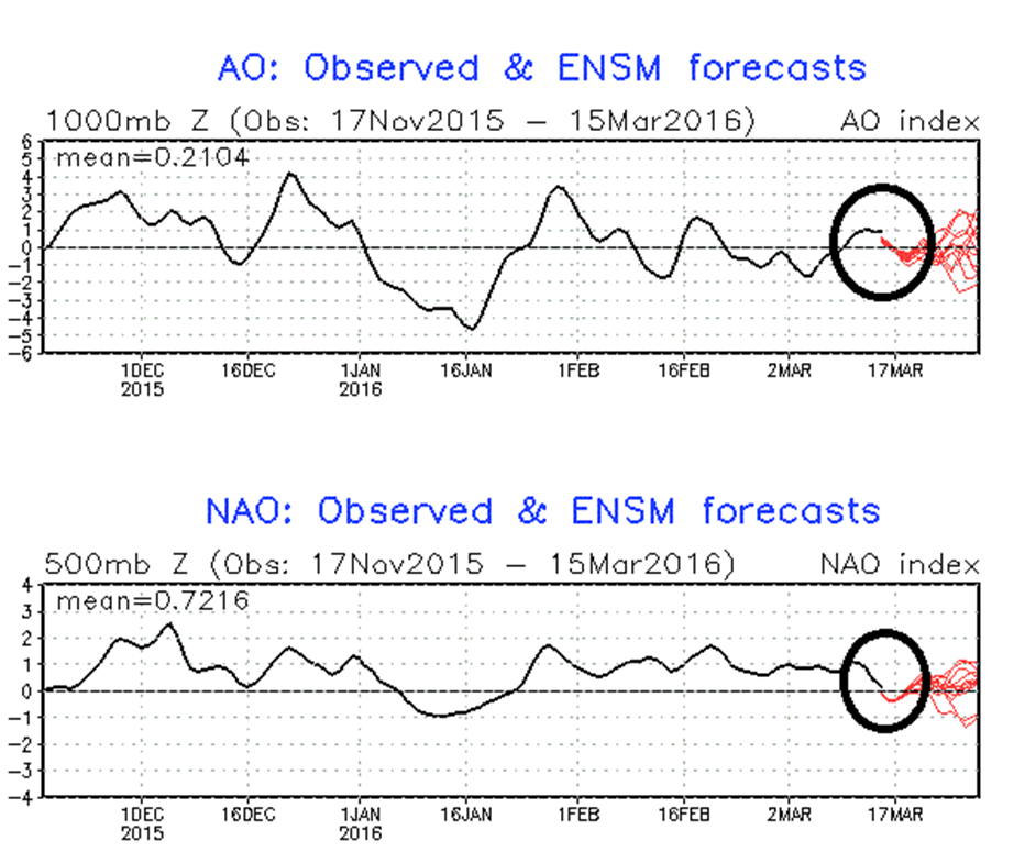 Trending of AO and NAO indices from positive to negative territory over the next few days; courtesy NOAA