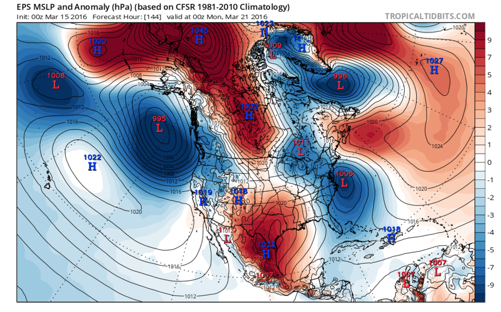 00Z Euro ensemble forecast map for Sunday evening; map courtesy tropicaltidbits.com