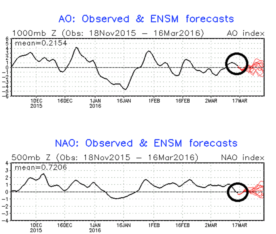 Latest Arctic Oscillation (AO) and North Atlantic Oscillation (NAO) index forecasts (shown in red); courtesy NOAA