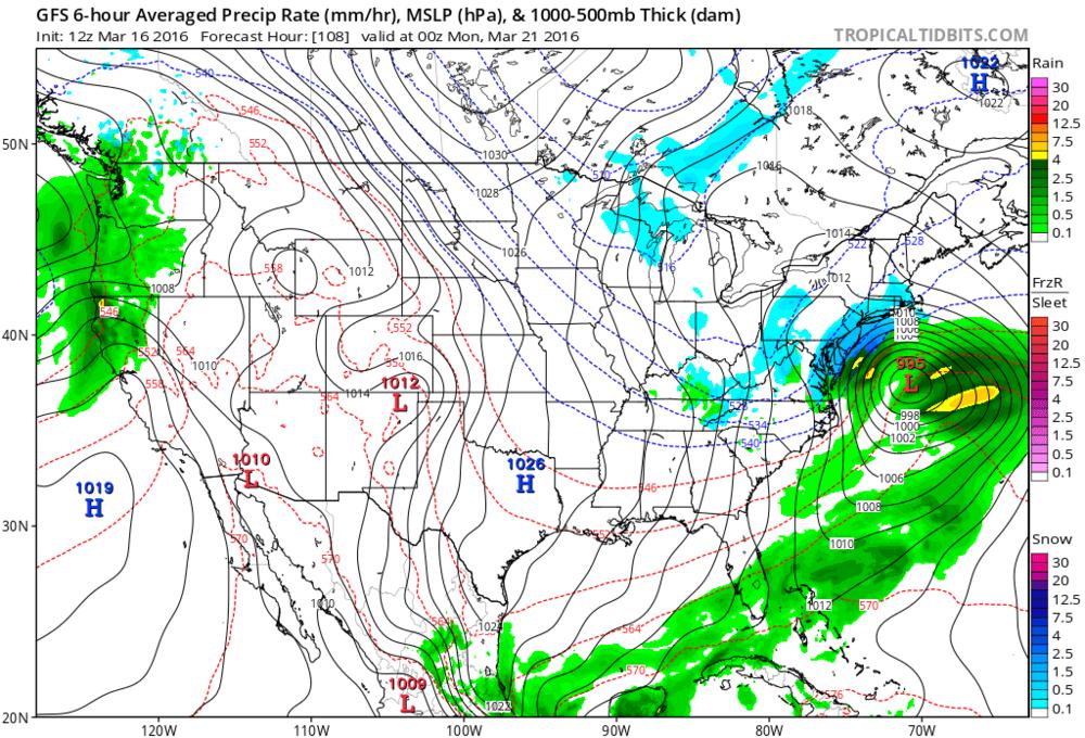 12Z GFS forecast map for Sunday evening (blue=snow, green=rain); map courtesy tropicaltidbits.com, NOAA