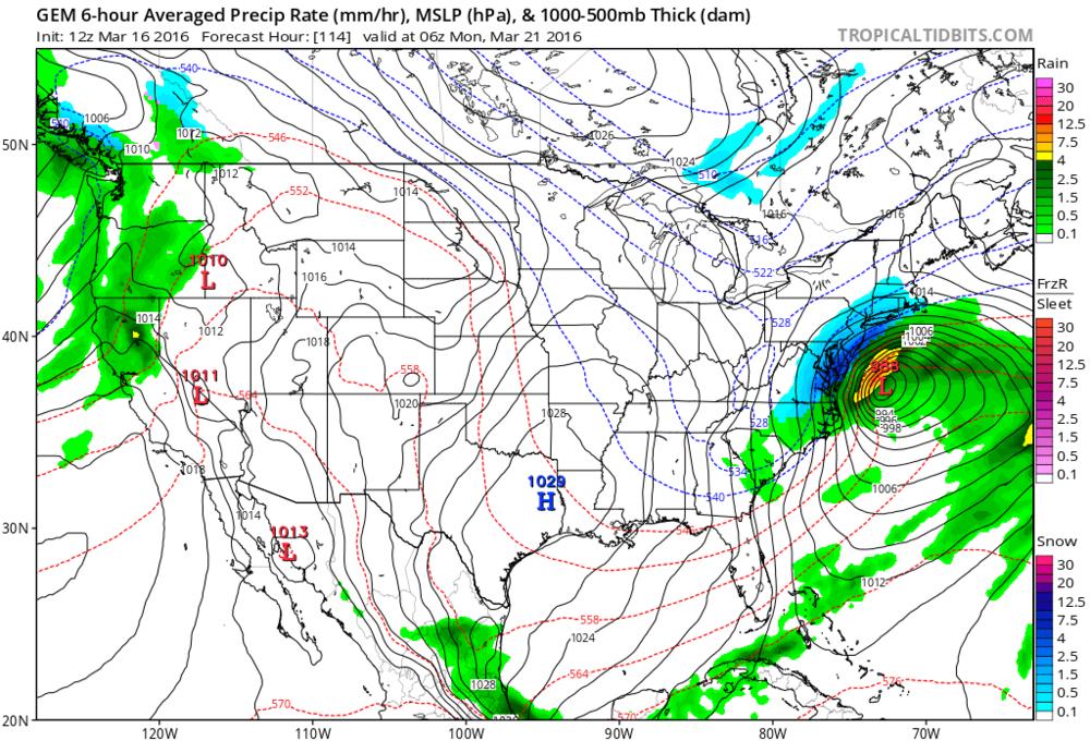12Z Canadian forecast map for Sunday evening (blue=snow, gree=rain); map courtesy tropicaltidbits.com, NOAA