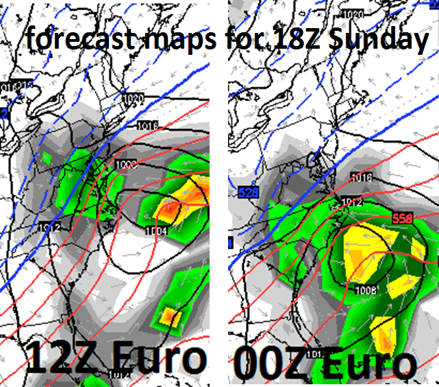 Big changes between last night's 00Z Euro model run (right) and today's 12Z run (left) with respect to the placement of the coastal low and its precipitation shield; map courtesy WSI
