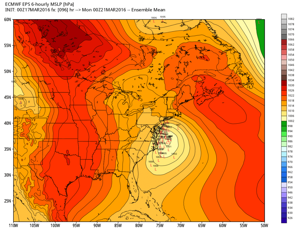 """00Z Euro """"ensemble"""" run with multiple solutions on low pressure location as of Sunday night; courtesy Weather Bell Analytics"""