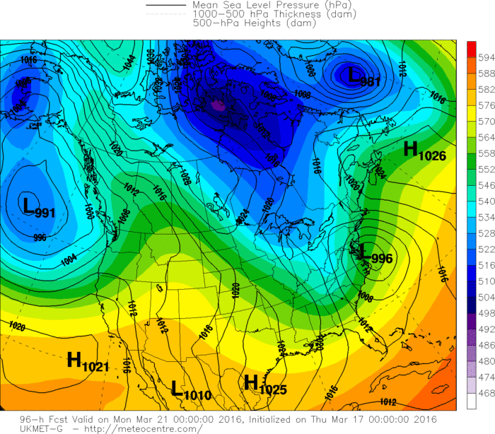 """00Z UKMET model forecast map for Sunday night with """"tucked"""" in low pressure near the Mid-Atlantic coastline"""