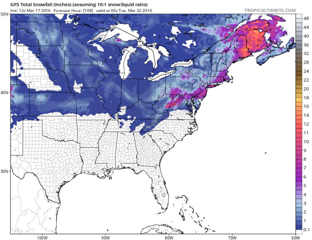 12Z GFS total snowfall map for upcoming storm; map courtesy tropicaltidbits.com