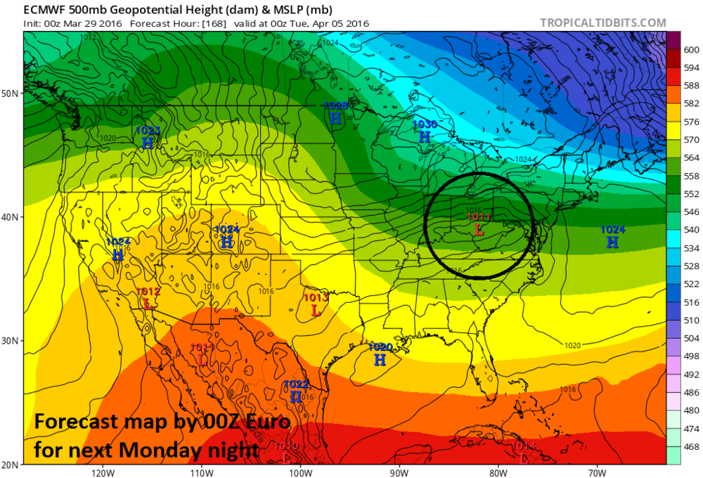 "Monday night forecast map by the 00Z European model with ""interesting"" low pressure over the Ohio Valley; map courtesy tropicaltidbits.com"