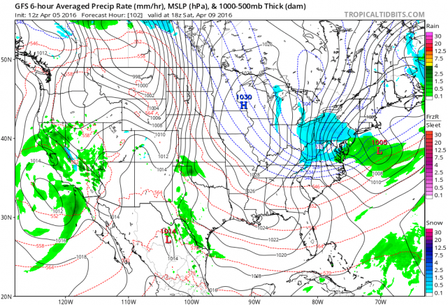 12Z GFS forecast map for early Saturday afternoon (blue=snow, green=rain); map courtesy NOAA, tropicaltidbits.com