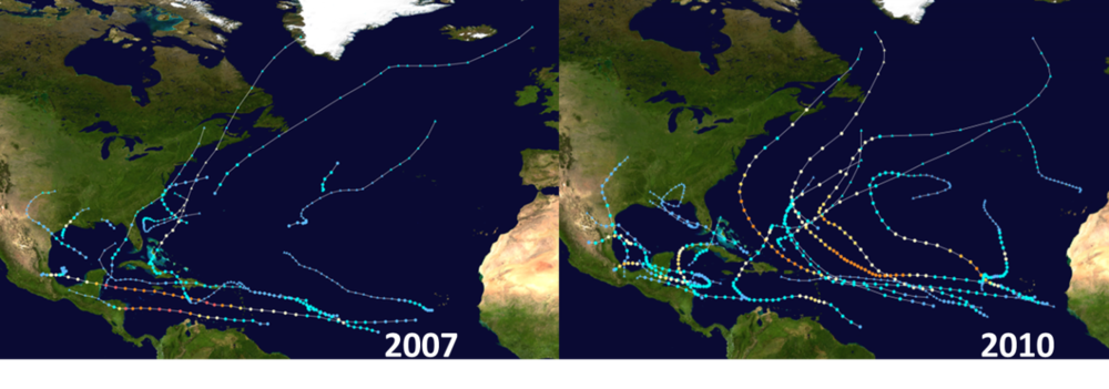 Storm tracks of Atlantic Basin tropical activity during six analog years; data courtesy Wikipedia
