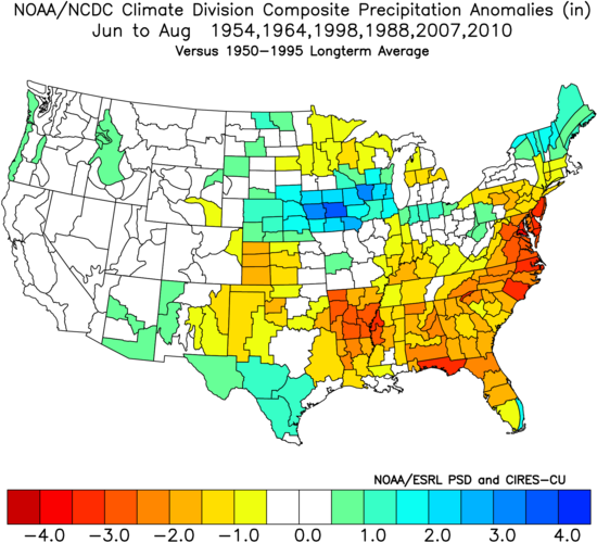 Composite map of precipitation anomalies averaged for June, July and August from the analog years of 1954, 1964, 1988, 1998, 2007, 2010; courtesy NOA