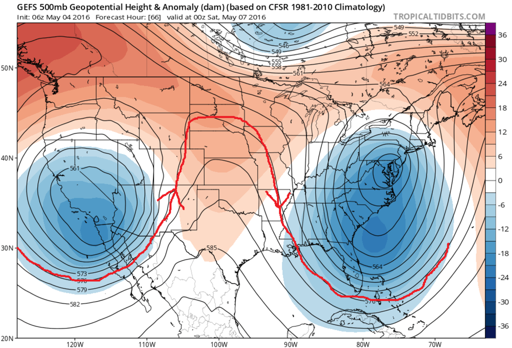 "00Z GFS Ensemble forecast map at 500 millibars for Friday night with the classic signature of an ""omega"" block: deep low pressure trough along both coasts and strong high-pressure ridging in the central US; map courtesy tropicaltidbits.com, NOAA"