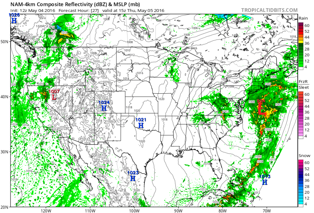 12Z high-resolution NAM surface forecast map for Thursday morning featuring strong low pressure off the Mid-Atlantic coastline; map courtesy tropicaltidbits.com, NOAA