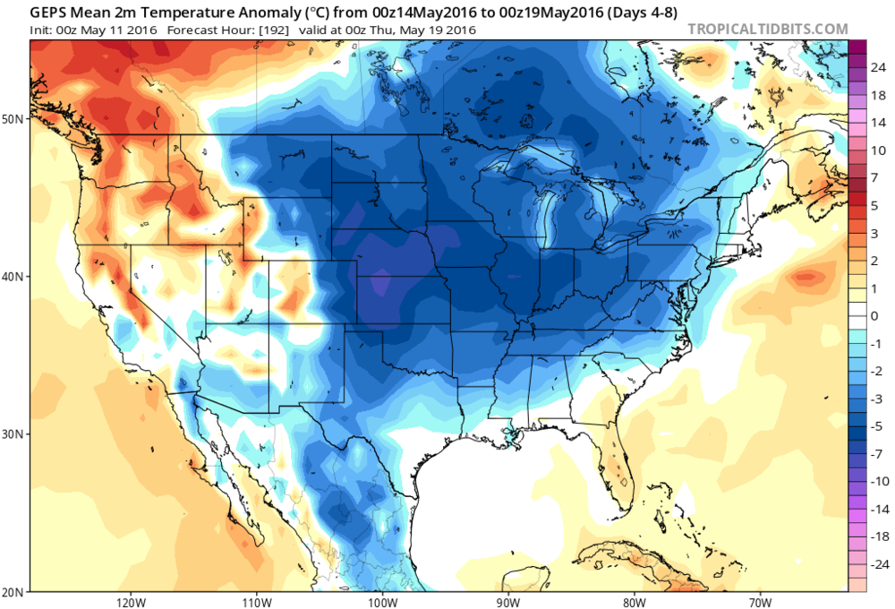 00Z Canadian ensemble forecast map of 5-day average temperature anomalies (Saturday night through Wednesday night); map courtesy tropicaltidbits.com, NOAA